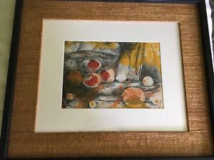 Vintage-Mid-Century-Abstract-Mixed-Media-Still-Life-Fruit-Painting-Artwork-Art