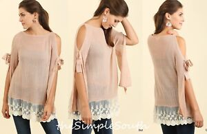 NWT UMGEE Dusty Rose Lace Ruffle Hem Drapey Swing Tie Cold Shoulder Tunic Top M