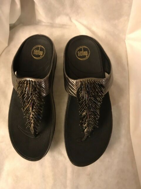 995edfed72ab37 FitFlop Cha Cha Sandals Nimbus Silver Leather Medium Comfort 9 Euro ...