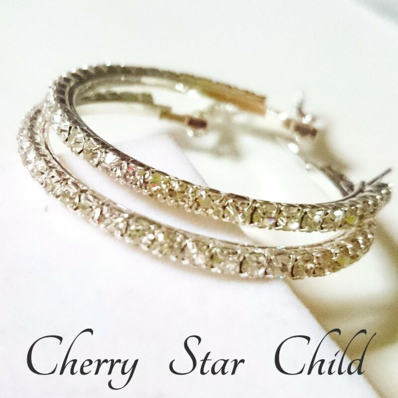Silver Pl Faceted Crystal Set Hoop Earrings. Crystals Full Around Pierced White