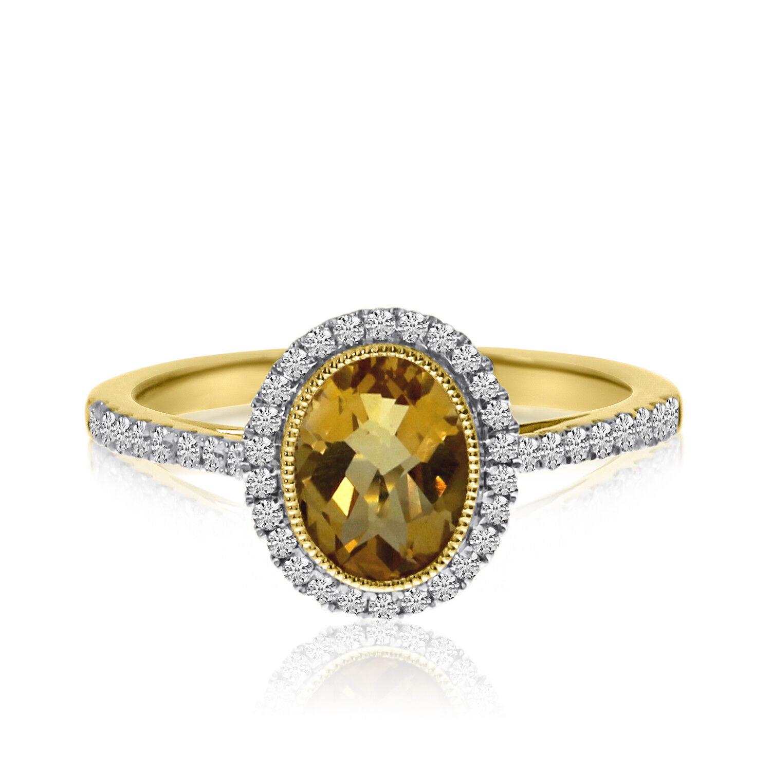 14k Yellow gold Oval Bezel Citrine and Diamond Ring
