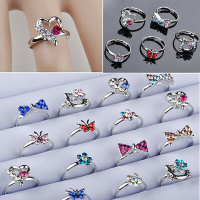 New 20pcs Wholesale Mix much CZ Crystal Children Kids Silver p Adjustable Rings