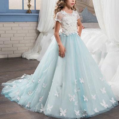 blumenmädchen kleid kinder lang abendkleid hochzeit brautjungfer festkleid ball  ebay