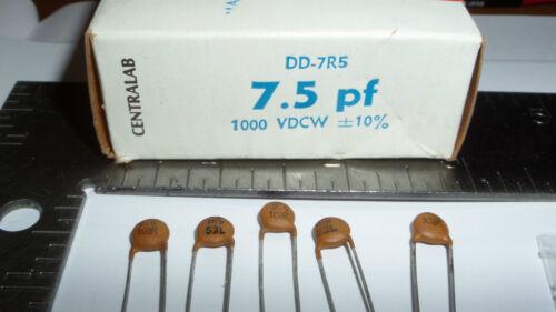 #3443 5 pieces Centralab DD-7R5 7.5pf 1000vdcw Ceramic Disc Capacitors