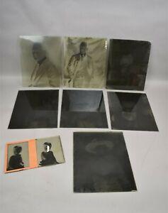 Antique-Glass-Photo-Negative-Slides-Portraits-1920s-Era-Lot-of-8
