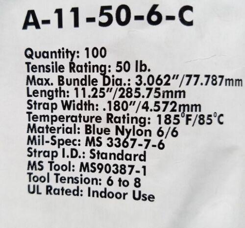 "11/"" BLUE CABLE ZIP TIES 500 Quantity"