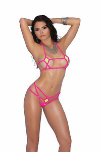 d0896030ef259 Lycra Bikini Top and Matching G-string With Neon Pink Trim by Elegant  Moments