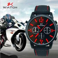 Luxury Men Watch Analog Rubber Strap Stainless Steel Quartz Sports Wrist Watches