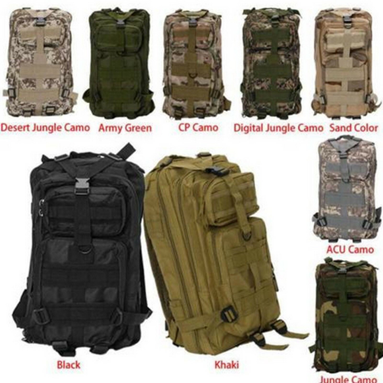 Large Outfit Tactical Backpack 3 Day Assault Pack Molle Gear Out Bag U... - s l1600