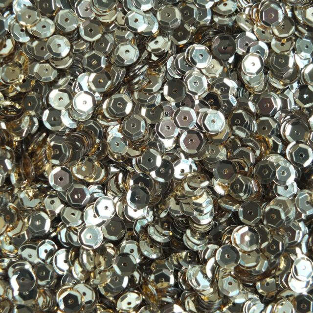 Cup Sequin 6mm Loose Metallic Gold Semi Matte Made in USA