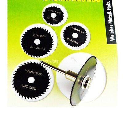 6PCS HSS Rotary Tool Saw Disc Set Wheel Blade shank for TIMBER, PLASTIC, GLASS