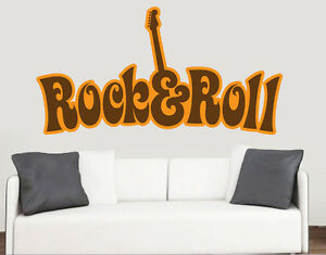 Rock Roll Wall Art Vinyl Stickers Band Guitar Music 60s Transfer Decal Mural Ebay