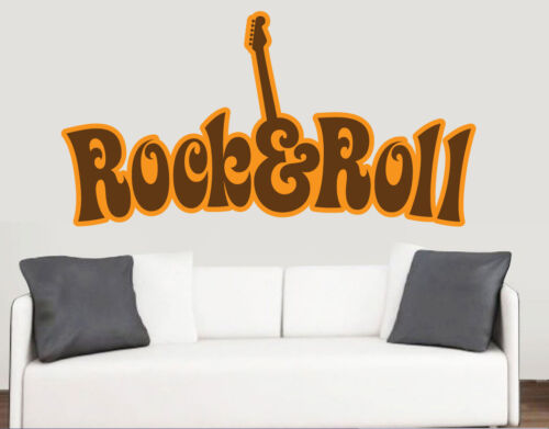 Rock roll wall art vinyl stickers band guitar music 60s transfer decal mural large 70cm x 40cm
