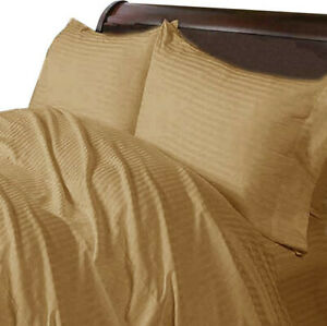 1000-TC-Egyptian-Cotton-Home-Bedding-Collection-Select-Size-Taupe-Striped