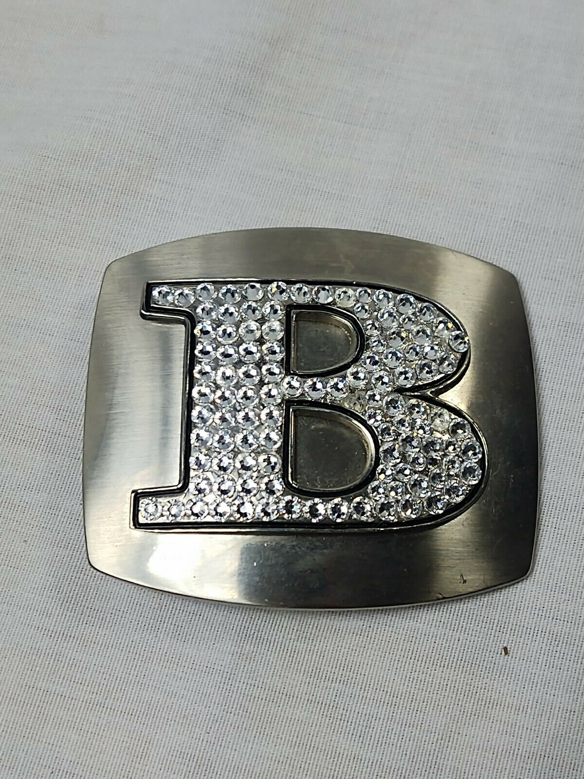 Letter B silver belt buckle with rhinestones