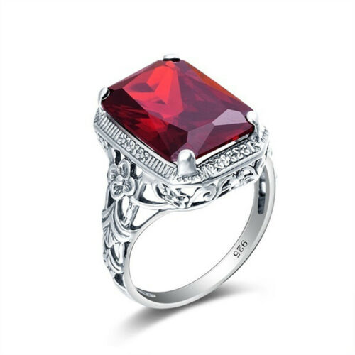 Women Fashion 925 Silver Square Ruby Flower Carved Wedding Band Ring Lover Gift