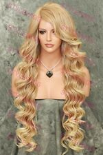 Light Blonde Mix Long Curly Lace Front Heat OK Synthetic Wig SAPR 27/613