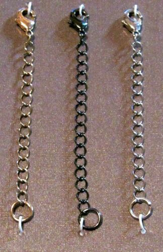 "3/"" Silver-Black-Gold Lobster Clasp Extender Chain Ends Jewelry Findings Necklace"