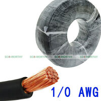 10 Feet 1/0 Awg Welding Cable Wire Black Cable Copper Car Battery Solar Leads