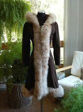 Authentic Vtg 60s Suede Shearling HOODED Coat PENNY LANE Boho Sheepskin Fur XS S