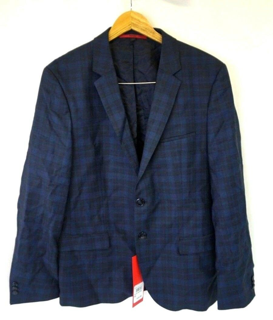 5a42d670645e NWT HUGO BOSS Men s bluee Plaid Wool Sngl Breasted Blazer 38S