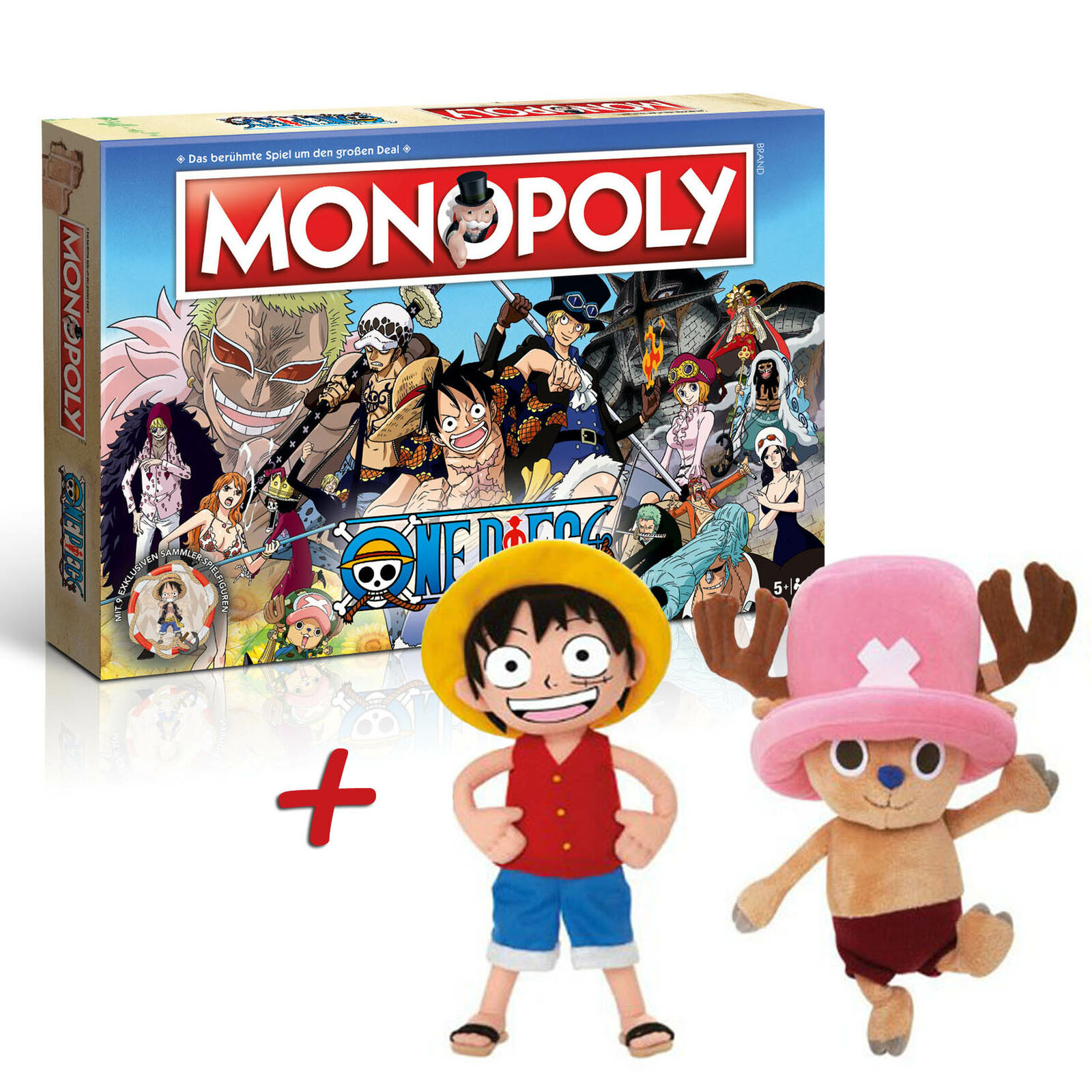 Monopoly One Piece Board Game Party Game + Stuffed Toy 30cm Ruffy Chopper