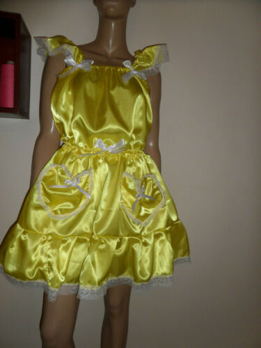 Adulte Bébé Sissy jaune satin pour femme robe Pretty Frilly Ruffle Hem dentelle