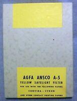 Brand Old Stock Agfa Ansco A-5 Yellow Safelight Filter 5 X 7 Convira Cykon