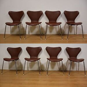 Brown Leather And Chrome Dining Chairs Set Of 8 Mid Century Ebay