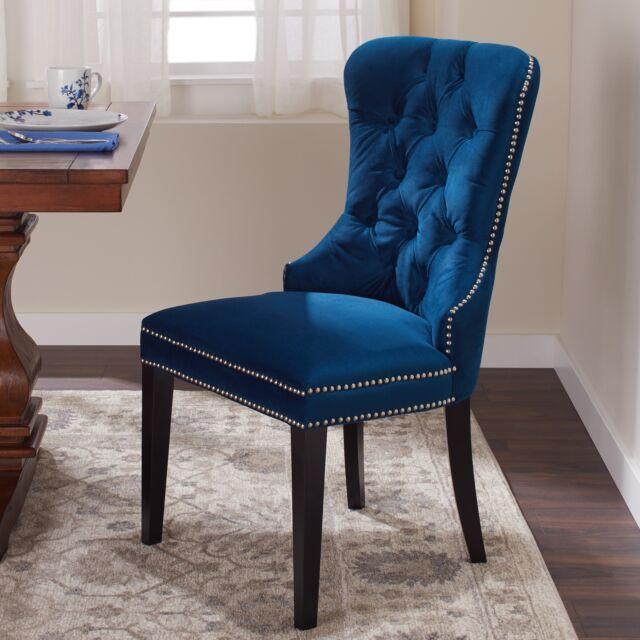 Sensational Dark Blue Dining Chair Button Tufted High Back Silver Nailhead Trim Poly Velvet Machost Co Dining Chair Design Ideas Machostcouk