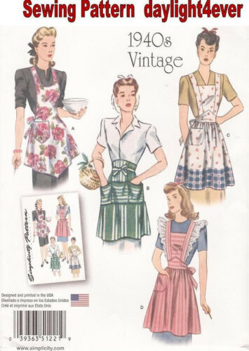 1940s Fabrics and Colors in Fashion Apron Retro 1940s Sewing Pattern 1221 Simplicity Size S-L NEW #z $6.89 AT vintagedancer.com