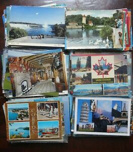LOT-OF-50-POSTCARDS-CHROME-USED-ALL-FOREIGN-WITH-STAMPS-4-X-6-CARDS