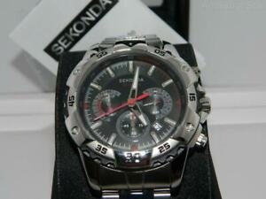 91b4e156f0 Sekonda Men's Black dial All Steel Chronograph bracelet watch ...
