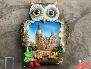 Spain Telodo Tourist Travel Souvenir OWL 3D Resin Fridge Magnet Craft GIFT IDEA
