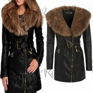 New Womens Faux Fur Collar PU Leather Belted Black Long Trench ...