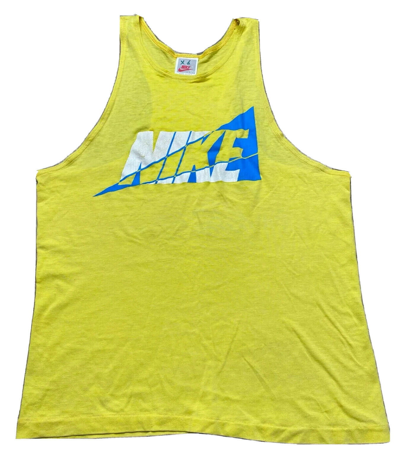 Vintage 90's Men's Nike Yellow Big Spell Out Blue & White Triangle Tank Sz S