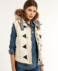 New Womens Superdry University Duffle Gilet Jacket Vintage White