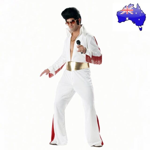 Mens Adult Elvis Presely King 50s Rock & Roll Star Jumpsuit Fancy Dress Costume