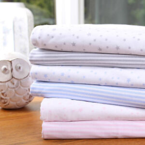 Clair-de-Lune-Stars-amp-Stripes-Fitted-Sheets-Baby-Moses-Basket-Pram-Crib-2-Pack