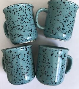 4-Vintage-Crown-Corning-Japan-Aqua-Deeper-Teal-Color-Spatter-Mini-2-5-Cups-Mugs