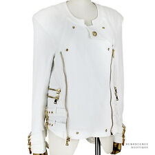 Balmain White Cotton Gold Hardware Slim-Fit Collarless Biker Jacket FR38 UK10