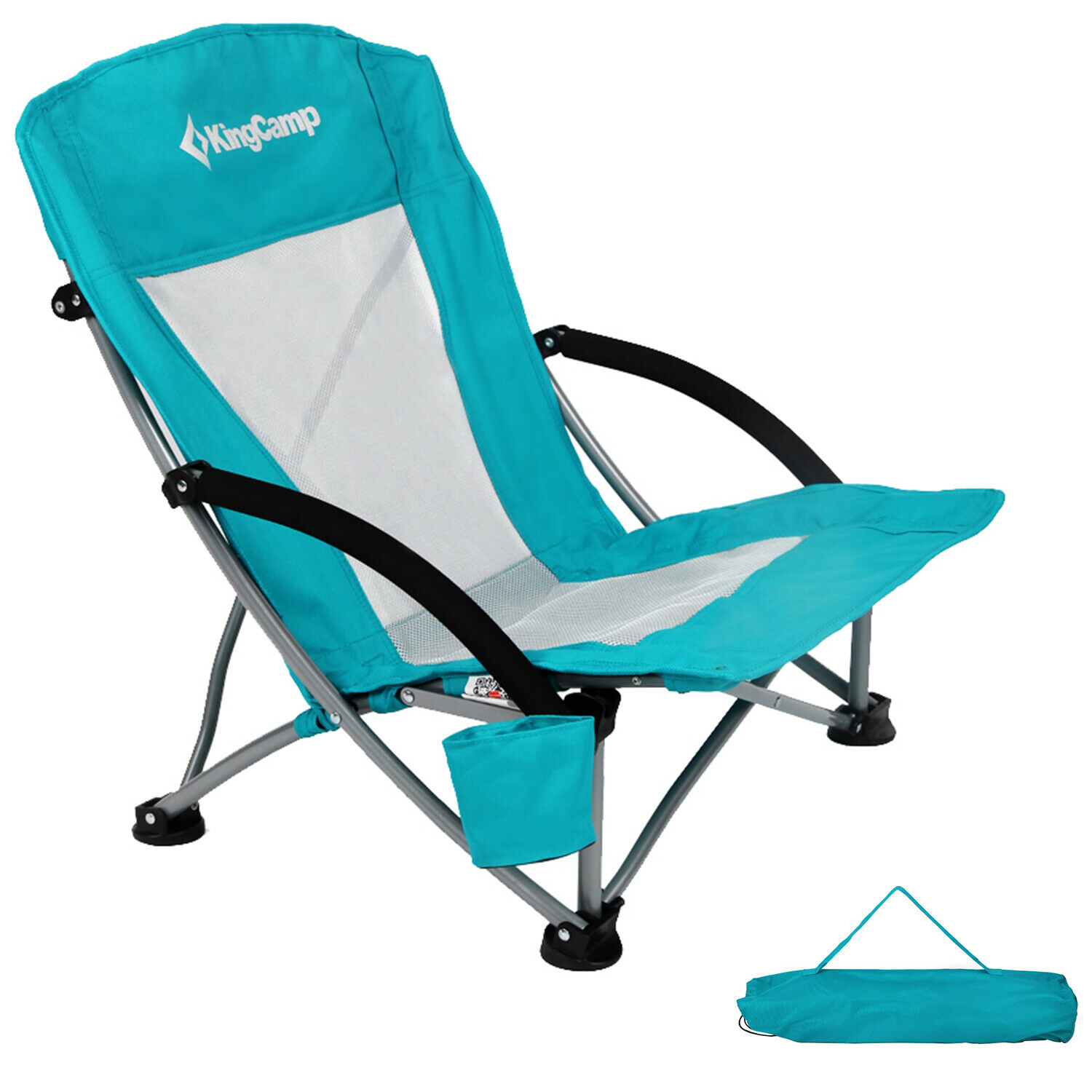 Kingcamp Low Sling Beach Chair Camping Concert Folding Chairs With Mesh Back