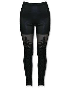 PUNK-RAVE-Macbeth-Leggings-nero-gotico-corsetto-pizzo-decorato-effetto-bagnato