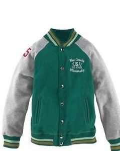 Details zu Arizona College Jacke Sweatjacke Pullover Wolljacke Kinder Jungen GrünGrau