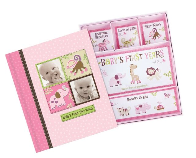 Baby Girl Memory Book Scrapbook Photo Picture Album with Storage Dividers Kee...