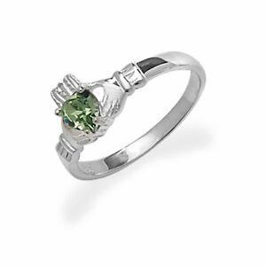 Irish-Claddagh-Ring-Sterling-Silver-Green-Stone-Friendship-Love-925-hallmarked