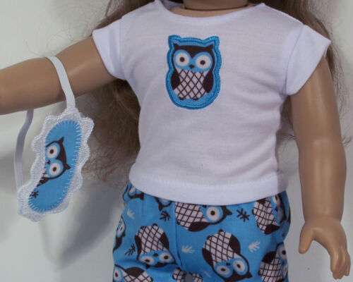 "4pc Owl BLUE Pajamas w//Slippers /& Mask Doll Clothes For 18/"" American Girl Debs"