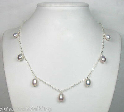 "Jewelry & Watches Spirited 18"" 925 Sterling Silver Aaa Quality 7-8mm Lavender Pearl Drop Station Necklace"