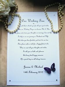 Image Is Loading Erfly Personalised Wedding Wishing Wish Tree Poem