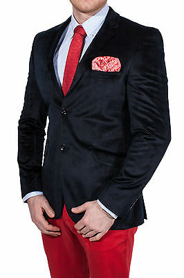WAM DENIM Herren Casual Sakko dunkelblau, Zweiknopf Jackett Velours Jacke Anzug